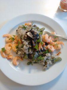 Risotto-mit-grünen-Bohnen-und-Champignon